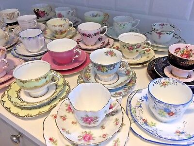 VINTAGE Bone China TEA CUP & SAUCER TRIO Tea Set FLORAL ROSE HARLEQUIN Matching