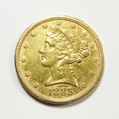 1885-P  LIBERTY HEAD $5 HALF EAGLE Gold Coin