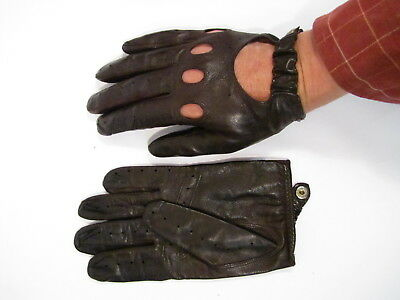 Vintage Leather Christian Dior Brown Leather Driving Gloves Mens Large
