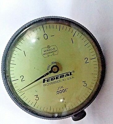 """Vintage Federal J1K Jeweled  Dial Indicator-.0001"""" Machining Inspection Used"""