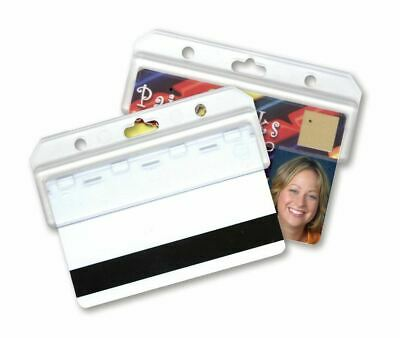 50 Pack - Horizontal Swipe Card Holders - Rigid Hard Plastic - for POS ID Badges