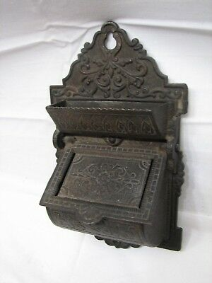 Antique Cast Iron Lidded Double Pocket Wall Match Safe Holder Ornate Victorian