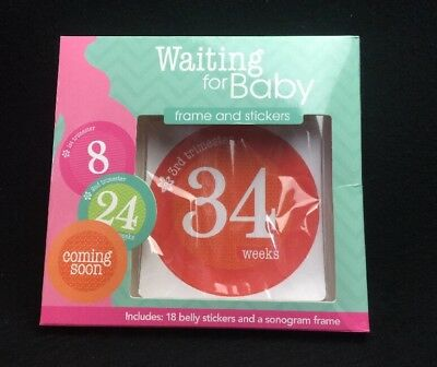 Stepping Stones WAITING FOR BABY Belly Stickers Only Sonogram Pregnancy Sealed