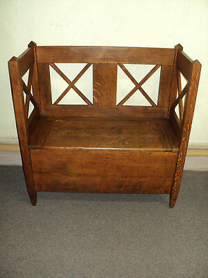 Antique Arts & Crafts Mission Oak Hall Storage Bench