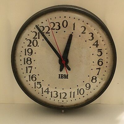 Rare Vtg. IBM Military Style 24 Hours Industrial Decor USA Wall Clock - Works