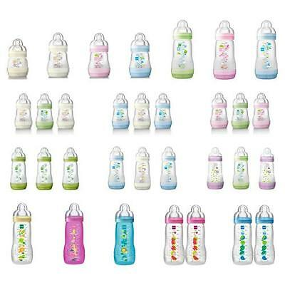 MAM Bottle Feeding Baby Milk Teat Anti-Colic Set Plastic 130-330ml 1-3 Pack