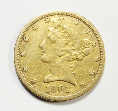 1901-S  LIBERTY HEAD $5 HALF EAGLE Gold Coin