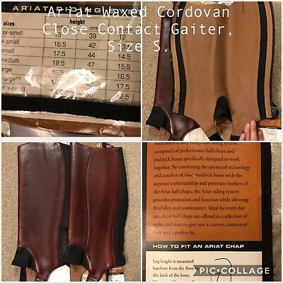 BNWT Ariat Waxed Cordovan Close Contact Chaps/Gaiters - Size Small