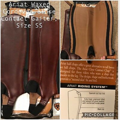 BNWT Ariat Waxed Cordovan Close Contact Chaps/Gaiters - Size SS