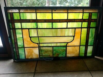 One Antique Church Leaded Stained Glass SLAG Windows Green & MUTI COLORS 32X19