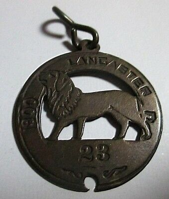 Very Rare 1900 Lancaster Grant Co WI Wisconsin Brass Dog Tax License Tag