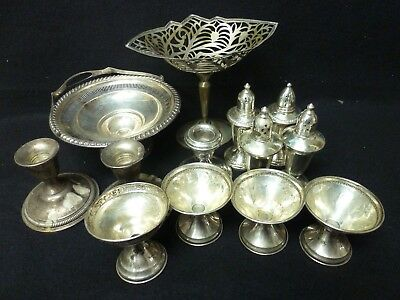 Sterling Silver Lot 8 Weighted 5 Solid Thirteen Pieces Total For Scrap (VR)
