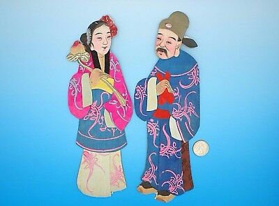 2 Vintage Chinese Traditional Dress Hand Painted Silk Figures / Paper Dolls