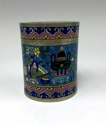 Antique Chinese Green Cloisonne Enamel on Silver Lidded Jar