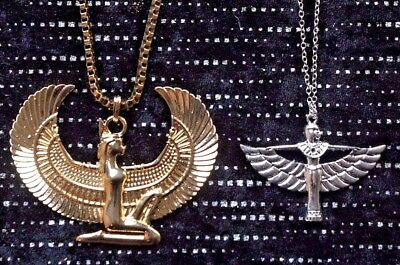 Isis Goddess Wings Chunky Extra Large Ancient Egyptian Pendant Necklace Jewelry