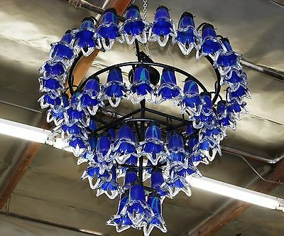 Art Deco Style 4 Level Wrought  Iron Chandelier & 54 Flowing Blown Glass Shades