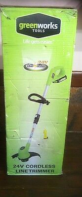 Greenworks G24LT 24v Cordless Grass Trimmer 1 x 2ah Li-ion Battery And Charger
