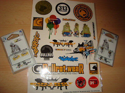 BULLROT 313 WEAR Sticker-Bogen Aufkleber + 2x Fett Print Sticker Packs Graffiti