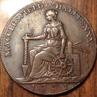 1791 Uk Gb Great Britain Half Penny Token Macclesfield