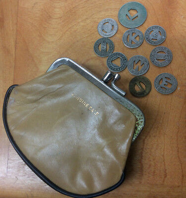 10-Different Transit Tokens With Genuine Calf Coin Purse ~ Awesome Find! <Lqqk>