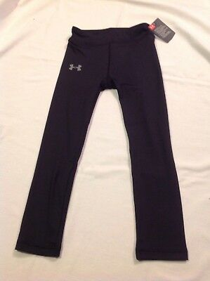 Girls Youth Under Armour Polyester Long Pants Leggings Black NWT