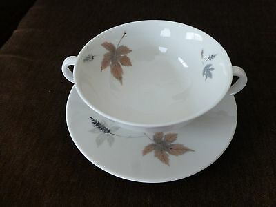 Royal Doulton Tumbling Leaves 2 Handled Soup Bowl/Cup with Saucer