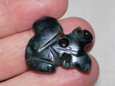 Authentic Pre-Columbian Blue Jade Pendant Bead, Animal Pendant