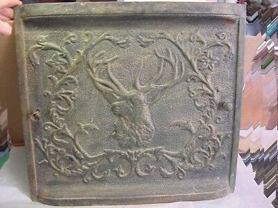 Antique Cast Iron Fire Place Summer Cover Deer Stag Flowers&vines Dark Green Bla