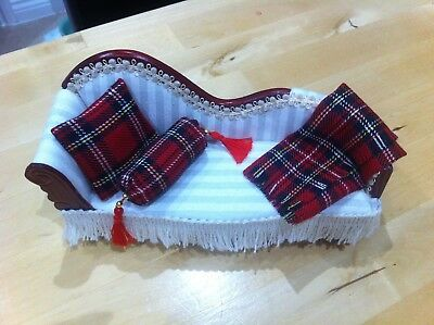 12 th scale Dolls House Tartan Throw and two Cushions