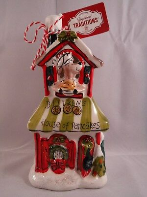 Blue Sky Clayworks Blitzen's House Of Pancakes Candle Holder Christmas Fun!
