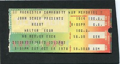 1978 Heart Walter Egan concert ticket stub Rochester NY Dog And Butterfly