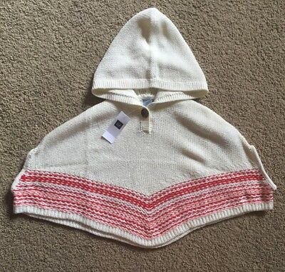 Toddler Girl Size 3 3T Baby Gap Cream Knit Hooded Poncho Sweater