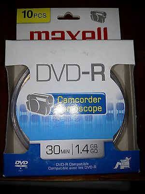 10 Pack Maxell DVD-R Mini Recordable Blank Video Disc CD for Camcorders 1.4GB