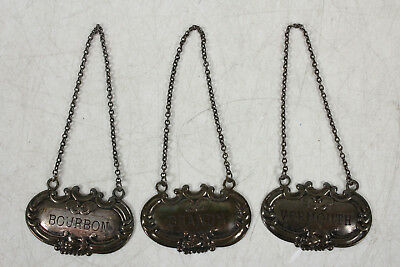 Vintage Sterling Silver Liquor Tags6x6x6