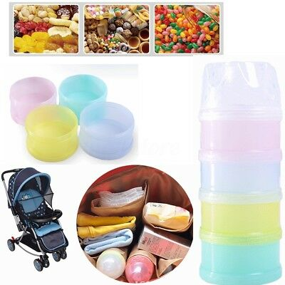 Portable 4 Layer Baby Infant Feeding Milk Powder Food Bottle Container Case Box