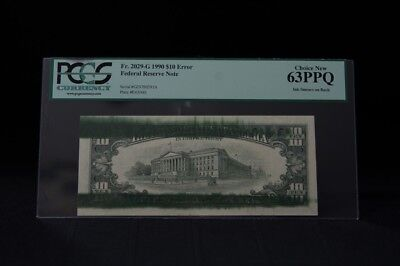 Error Note(S).set Of Consecutive Notes, Ink Smear On Backs 1990 $10 Pcgs 63/64