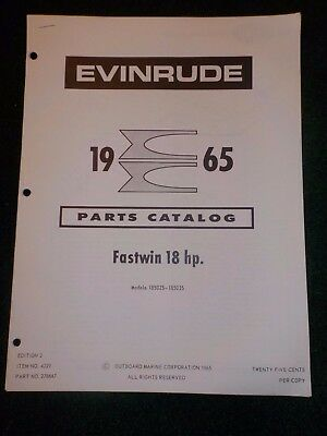 1965 OMC Evinrude Outboard Parts Catalog Manual 18 HP Fastwin 18502S-18503S