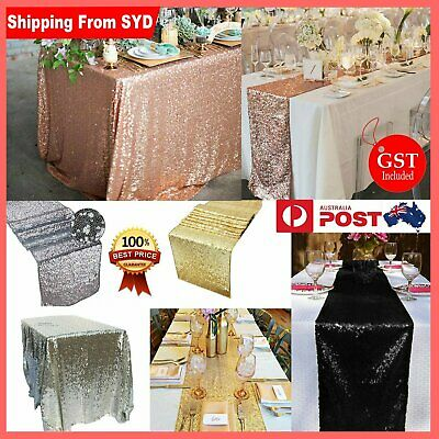 120x180cm & 30x180cm 4 Colours Sparkly Table Runner Table Cloth Fabric Sequin We