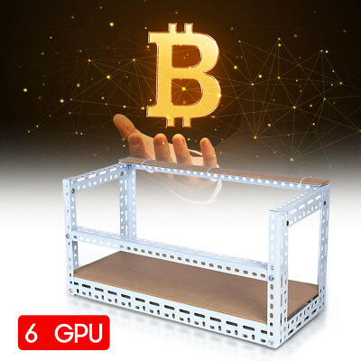 Black 6 GPU's Steel Coin Open Air Mining Frame Rig Case up to BTC Ethereum ETH
