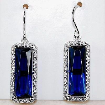 8CT Blue Sapphire & White Topaz 925 Solid Sterling Silver Earrings Jewelry, T6-4