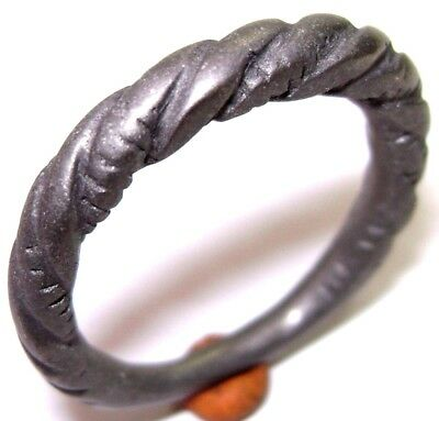 Ancient Rare alloy Pseudo-twisted Viking bronze ring.
