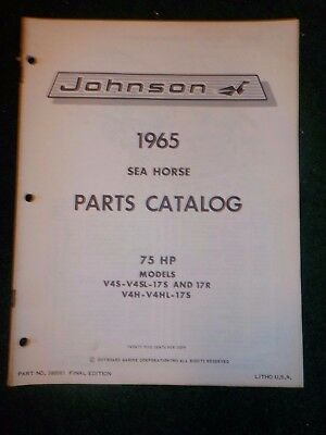 1965 OMC Johnson Sea Horse Outboard Parts Catalog Manual 75 HP V4S ++ Final Ed