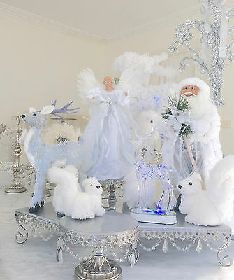 "18"" Shabby Vintage White & Silver Chic Lights Up Santa Mantle Father Christmas"