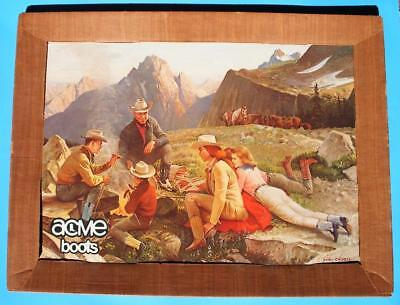 Vintage Acme Boots Store Display: Artwork by John Clymer.1957. Cowboy Picnic. NR