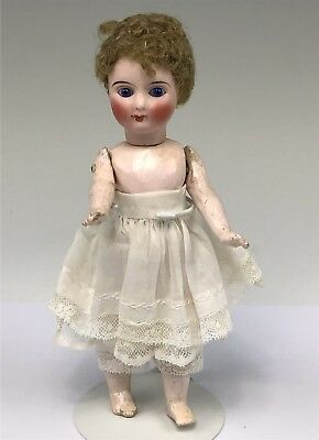 """Tiny 7.5"""""""" Sonneberg Antique Bisque Doll Closed Mouth, Unique Body, Curly Hair"""