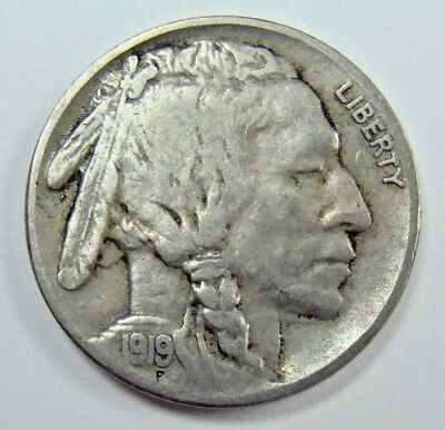 1919 Vf 3/4 Horn Buffalo Nickel, Nice Collector Coin, Free Shipping