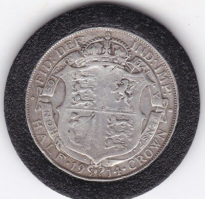 1914   King  George V  Half  Crown  (2/6d) -  Silver  (92.5%)  Coin