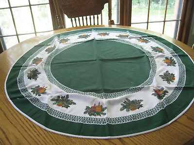 Christmas,Vintage Round Tablecloth 40 in. across