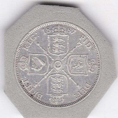 Sharp  1887   Queen  Victoria   Florin  (2/-)  Silver (92.5%)  Coin