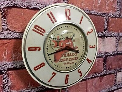 Antique-Vtg Telechron Texaco Advertising Fire Chief Oil-Gas Station Wall Clock!!